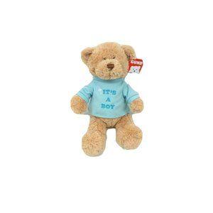 Gund It's A Boy Brown Bear in Blue Tee Shower Gift
